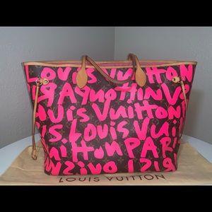 Authentic Louis Vuitton graffiti neverfull gm pink